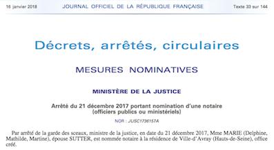 Arrêté de nomination au Journal Officiel de Maître Delphine MARIE-SUTTER - Office Notarial Delphine MARIE-SUTTER - 19 rue de Saint-Cloud 92410 Ville d'Avray